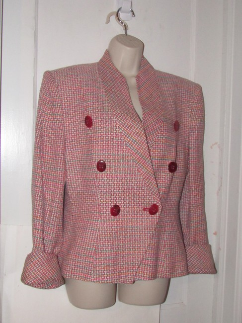 Dior Mint Vintage Mid Century Edgy Modern Look Silk/Wool Short Structured Cut pink, turquoise, red, and white, tweed Blazer Image 8