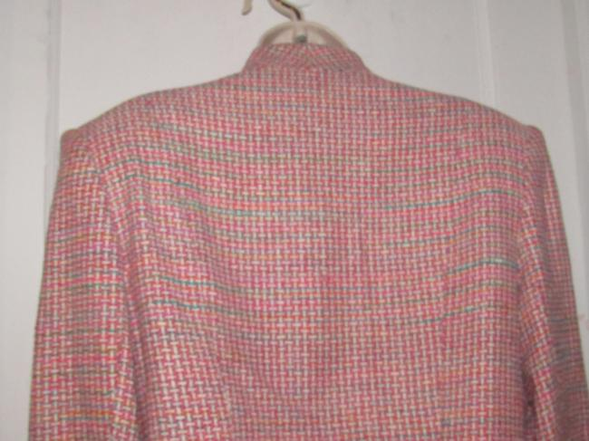 Dior Mint Vintage Mid Century Edgy Modern Look Silk/Wool Short Structured Cut pink, turquoise, red, and white, tweed Blazer Image 9