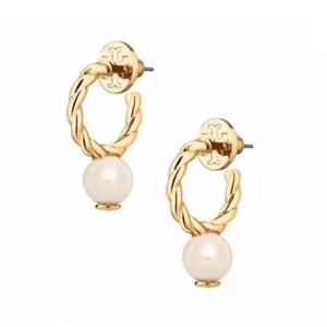 Tory Burch Tory Burch Rope Logo Bead Hoop Earrings
