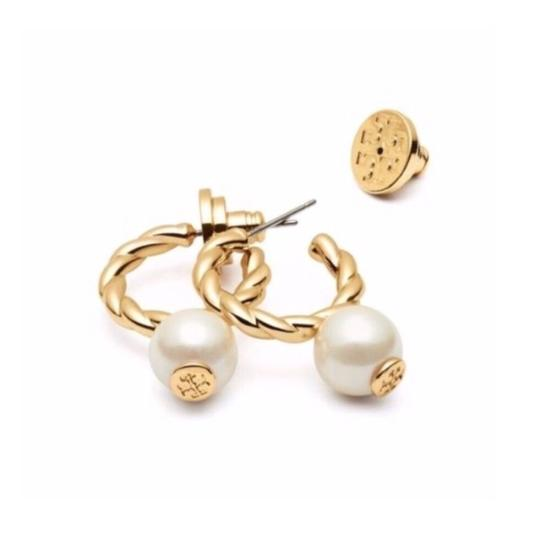 Tory Burch Tory Burch Rope Logo Bead Hoop Earrings Image 3