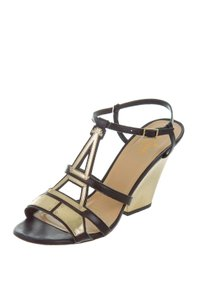 Kate Spade Leather Slingback Hardware Black and Gold Sandals