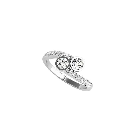 DesignByVeronica Bezel Set Two Stone CZ 14K White Gold Engagement Ring Image 0