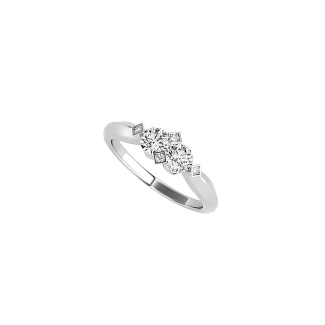 Unbranded White Amazingly Styled Prong Set Two Stone Cz Gold Ring Unbranded White Amazingly Styled Prong Set Two Stone Cz Gold Ring Image 1