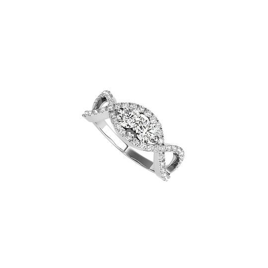 DesignByVeronica Cross Over Two Stone CZ Engagement Ring 14K White Gold Image 0