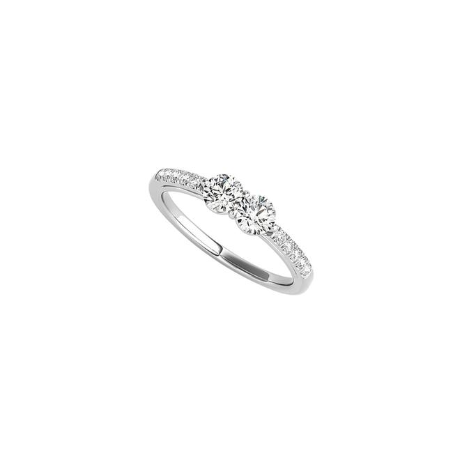 Unbranded White Always In Trend Two Stone Cz Engagement Gold Ring Unbranded White Always In Trend Two Stone Cz Engagement Gold Ring Image 1