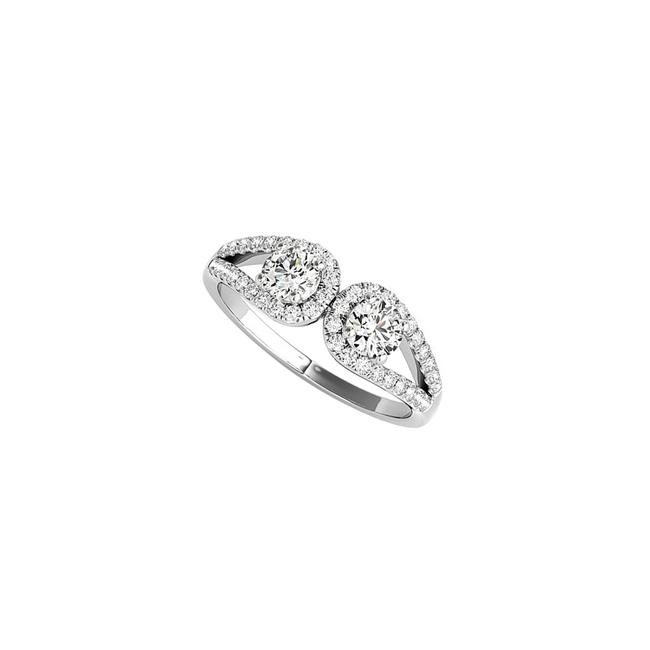 Unbranded White Infinity Style Cz Two Stone Engagement Gold Ring Unbranded White Infinity Style Cz Two Stone Engagement Gold Ring Image 1