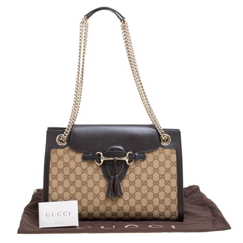 beeb9babec8a Gucci Emily Beige/Black Gg and Leather Large Chain Beige Canvas Shoulder Bag  - Tradesy