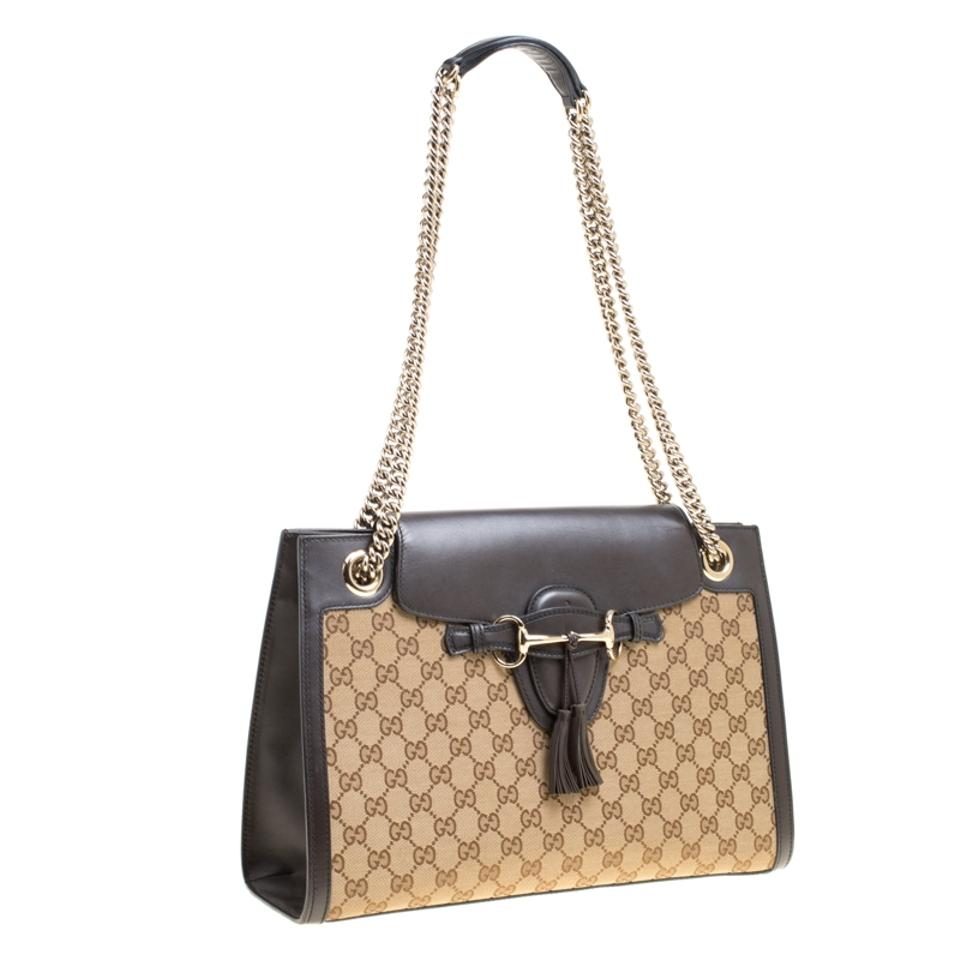 9b259a9dbea Gucci Emily Beige Black Gg and Leather Large Chain Beige Canvas Shoulder Bag  - Tradesy