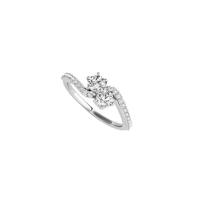 Unbranded White Romance Cz Two Stone In Designer 14k Gold Ring Unbranded White Romance Cz Two Stone In Designer 14k Gold Ring Image 1