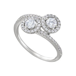 DesignByVeronica Lovers Essential CZ Two Stone Ring Silver 2.50 CT TGW