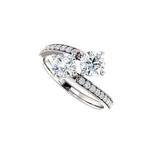 DesignByVeronica Super Stylish CZ Two Stone Ring in 925 Sterling Silver