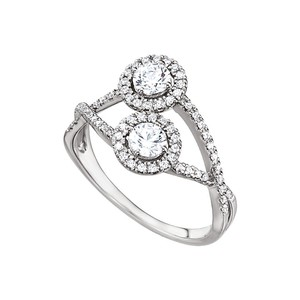 DesignByVeronica 14K White Gold Two Stone Designer Cubic Zirconia Ring