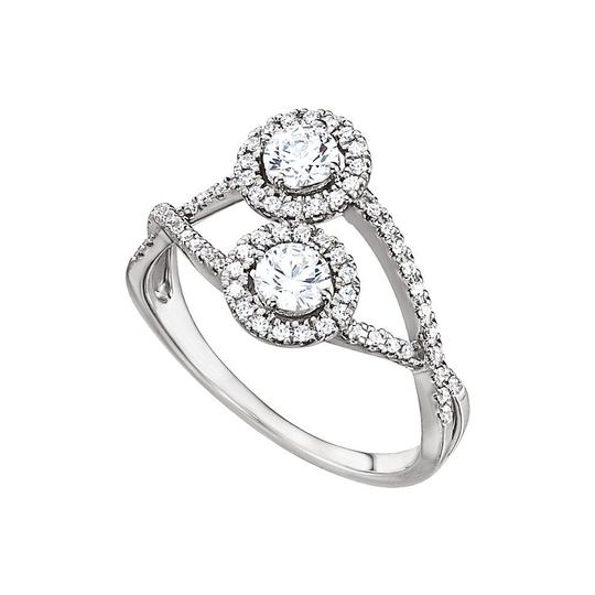 DesignByVeronica 14K White Gold Two Stone Designer Cubic Zirconia Ring Image 0