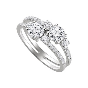 DesignByVeronica Two Stone Style Designer CZ Ring For Die Hard Romantic