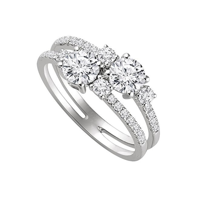 Unbranded White Two Stone Style Designer Cz For Die Hard Romantic Ring Unbranded White Two Stone Style Designer Cz For Die Hard Romantic Ring Image 1