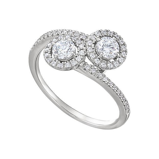 Unbranded White Go Close To Her with Cz Two Stone Style Designer Ring Unbranded White Go Close To Her with Cz Two Stone Style Designer Ring Image 1