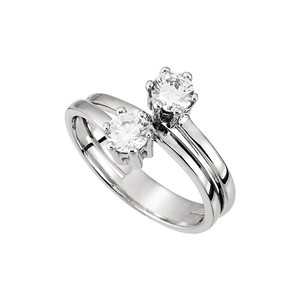 DesignByVeronica Designer Two Stone Ring with CZ in 14K White Gold