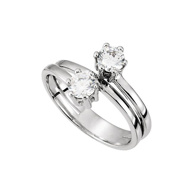 Unbranded White Designer Two Stone with Cz In 14k Gold Ring Unbranded White Designer Two Stone with Cz In 14k Gold Ring Image 1
