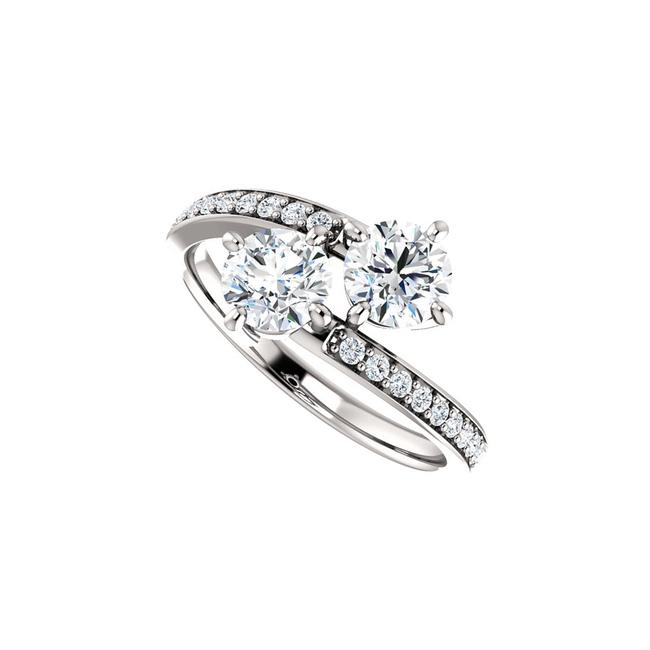 Unbranded White Union Of Hearts Two Stone Designer Cz For Love Ring Unbranded White Union Of Hearts Two Stone Designer Cz For Love Ring Image 1