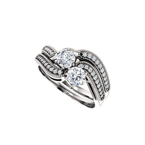 DesignByVeronica April Birthstone CZ Two Stone Designer Ring White Gold