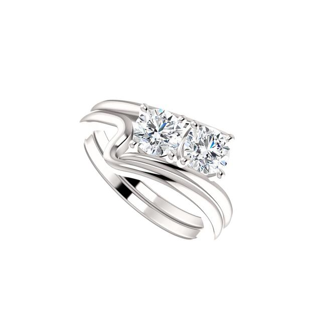 Unbranded White Begin Your Love Story with Two Stone Cz Designer Ring Unbranded White Begin Your Love Story with Two Stone Cz Designer Ring Image 1