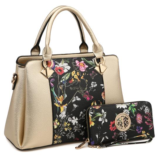 Preload https://img-static.tradesy.com/item/24188405/two-tone-with-matching-wallet-goldblack-flower-faux-leather-satchel-0-0-540-540.jpg