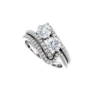 DesignByVeronica Two Stone CZ Designer Ring Styled in 14K White Gold
