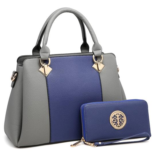 Preload https://img-static.tradesy.com/item/24188408/two-tone-with-matching-wallet-bluegray-faux-leather-satchel-0-0-540-540.jpg