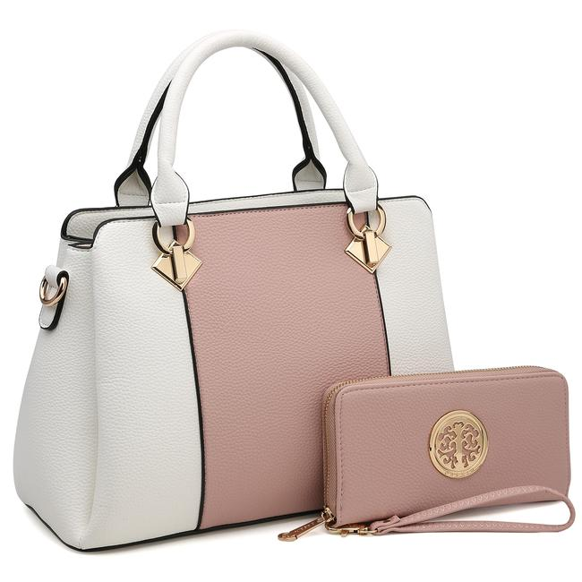 Dasein Two Tone with Matching Wallet Pink/White Faux Leather Satchel Dasein Two Tone with Matching Wallet Pink/White Faux Leather Satchel Image 1