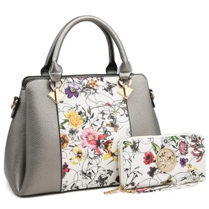 Dasein The Treasured Hippie Vintage Bags Designer Inspired Affordable Bags Large Handbags Satchel in Silver/Floral