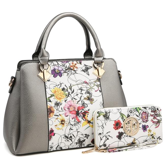 Dasein Two Tone with Matching Wallet Silver/Floral Faux Leather Satchel Dasein Two Tone with Matching Wallet Silver/Floral Faux Leather Satchel Image 1