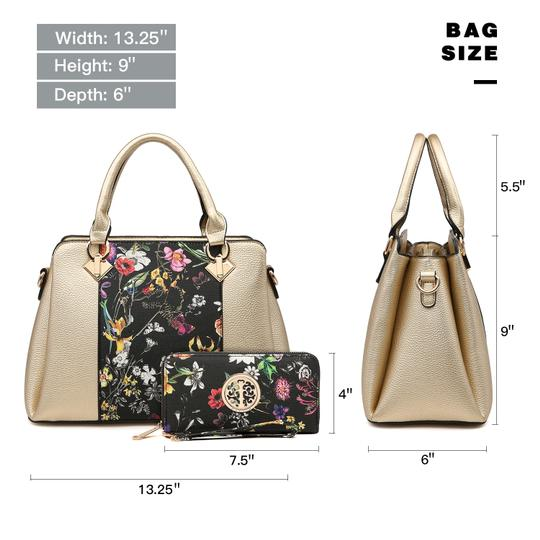 Dasein The Treasured Hippie Vintage Bags Designer Inspired Affordable Bags Large Handbags Satchel in Silver/Floral Image 3