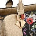 Dasein Two Tone with Matching Wallet Silver/Floral Faux Leather Satchel Dasein Two Tone with Matching Wallet Silver/Floral Faux Leather Satchel Image 8
