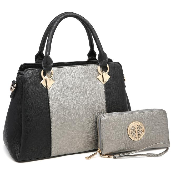 Dasein Two Tone with Matching Wallet Silver/Black Faux Leather Satchel Dasein Two Tone with Matching Wallet Silver/Black Faux Leather Satchel Image 1