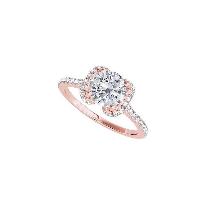 Unbranded White Winged Pattern Cz Designer In Rose Gold Vermeil Ring Unbranded White Winged Pattern Cz Designer In Rose Gold Vermeil Ring Image 1