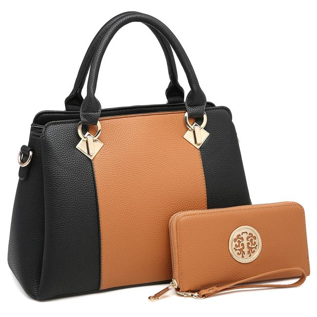 Dasein Two Tone with Matching Wallet Brown/Black Faux Leather Satchel Dasein Two Tone with Matching Wallet Brown/Black Faux Leather Satchel Image 1