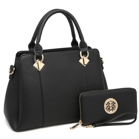 Preload https://img-static.tradesy.com/item/24188422/two-tone-with-matching-wallet-black-faux-leather-satchel-0-0-540-540.jpg