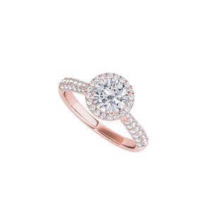 DesignByVeronica Classic Round CZ Halo Ring in 14K Rose Gold Vermeil