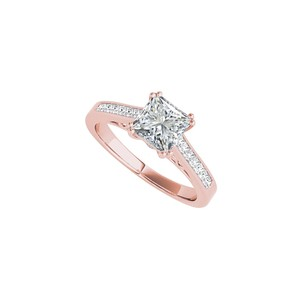 DesignByVeronica Charming Princess Cut CZ Ring in 14K Rose Gold Vermeil