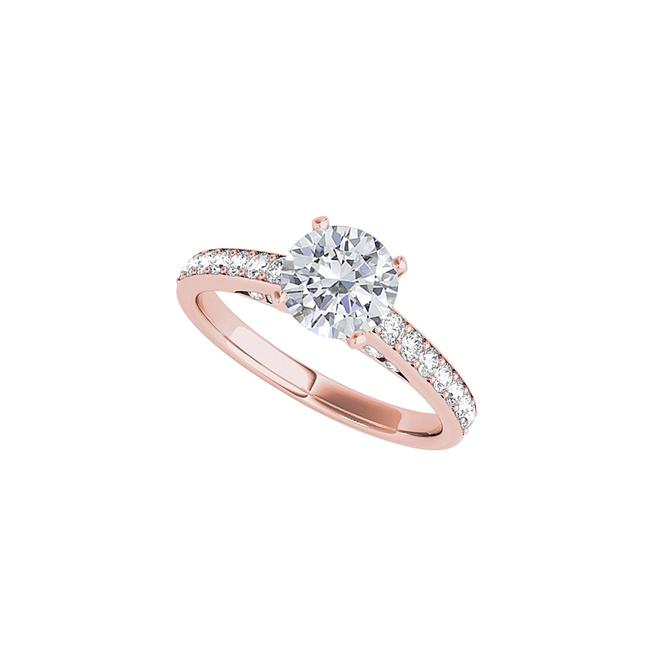 Unbranded White Favorite All Time Round Cz Engagement Rose Vermeil Ring Unbranded White Favorite All Time Round Cz Engagement Rose Vermeil Ring Image 1