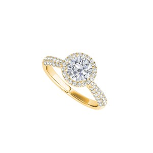 DesignByVeronica CZ Halo Engagement Ring in 18K Yellow Gold Vermeil