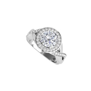 DesignByVeronica Cubic Zirconia Crossover Engagement Ring 925 Silver