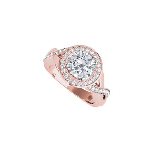 DesignByVeronica Cubic Zirconia Crossover Engagement Ring 14K Rose Gold
