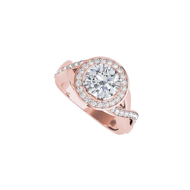 Unbranded White Cubic Zirconia Crossover Engagement 14k Rose Gold Ring Unbranded White Cubic Zirconia Crossover Engagement 14k Rose Gold Ring Image 1