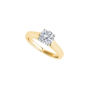 DesignByVeronica Awesome CZ Solitaire Engagement Ring 14K Yellow Gold