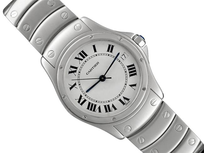 Cartier White Santos Ronde Mens Stainless Steel Watch Cartier White Santos Ronde Mens Stainless Steel Watch Image 1