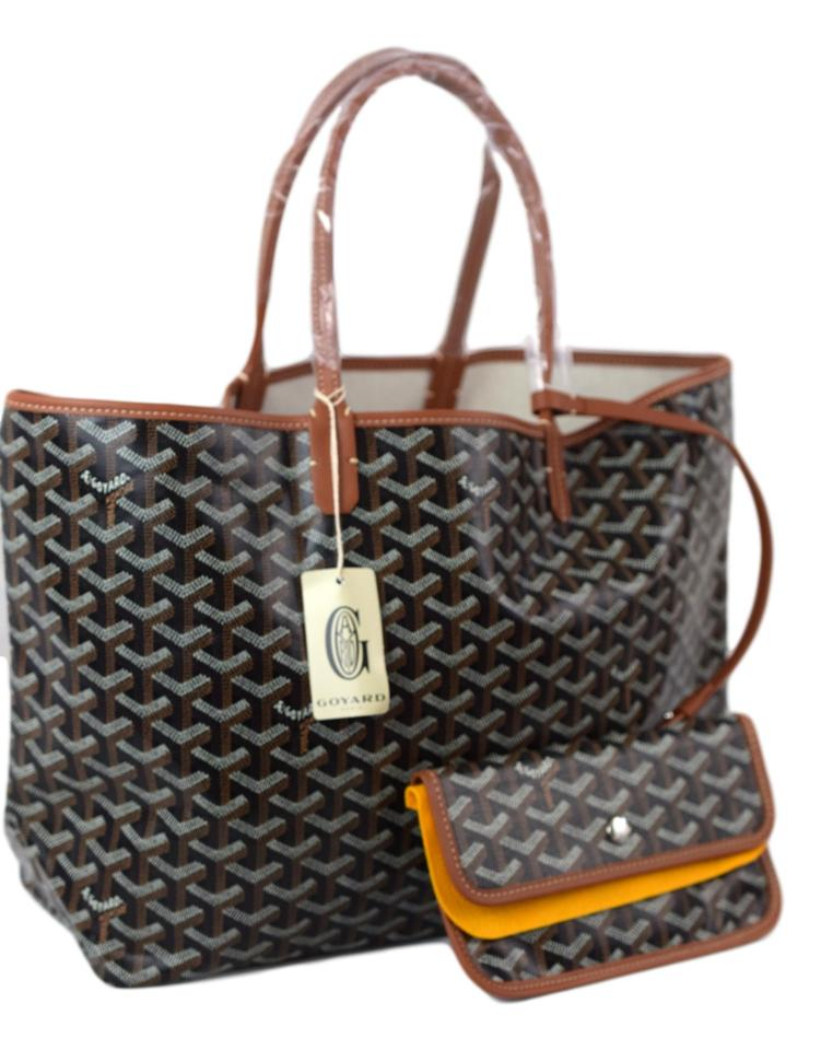 85be8685a9a7 Goyard Saint Louis (St. Louis) Gm Black and Brown Coated Canvas Tote ...