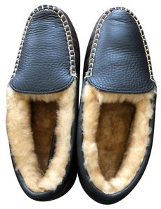 Acorn New Without Box Moccasin Slippers Leather Faux Fur Never Worn Dark Brown Flats