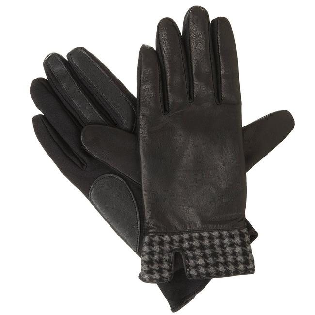 Isotoner Black L Stretch Leather Houndstooth Smartouch Lined Gloves M Isotoner Black L Stretch Leather Houndstooth Smartouch Lined Gloves M Image 1