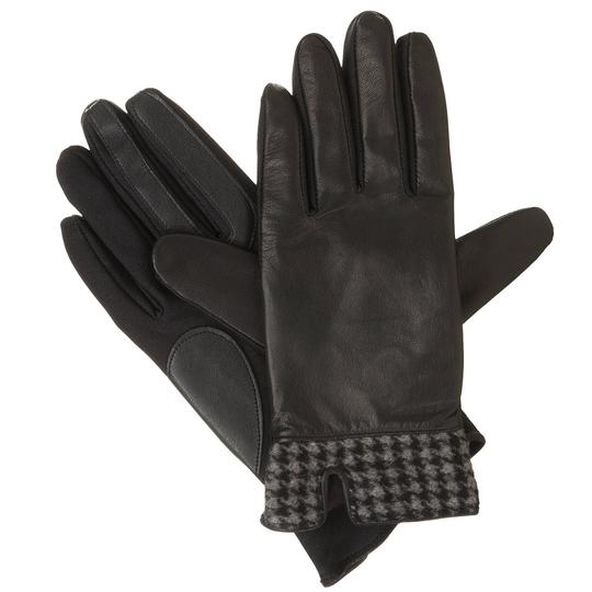 Isotoner Black Stretch Leather Houndstooth smarTouch Lined Gloves M L Image 1